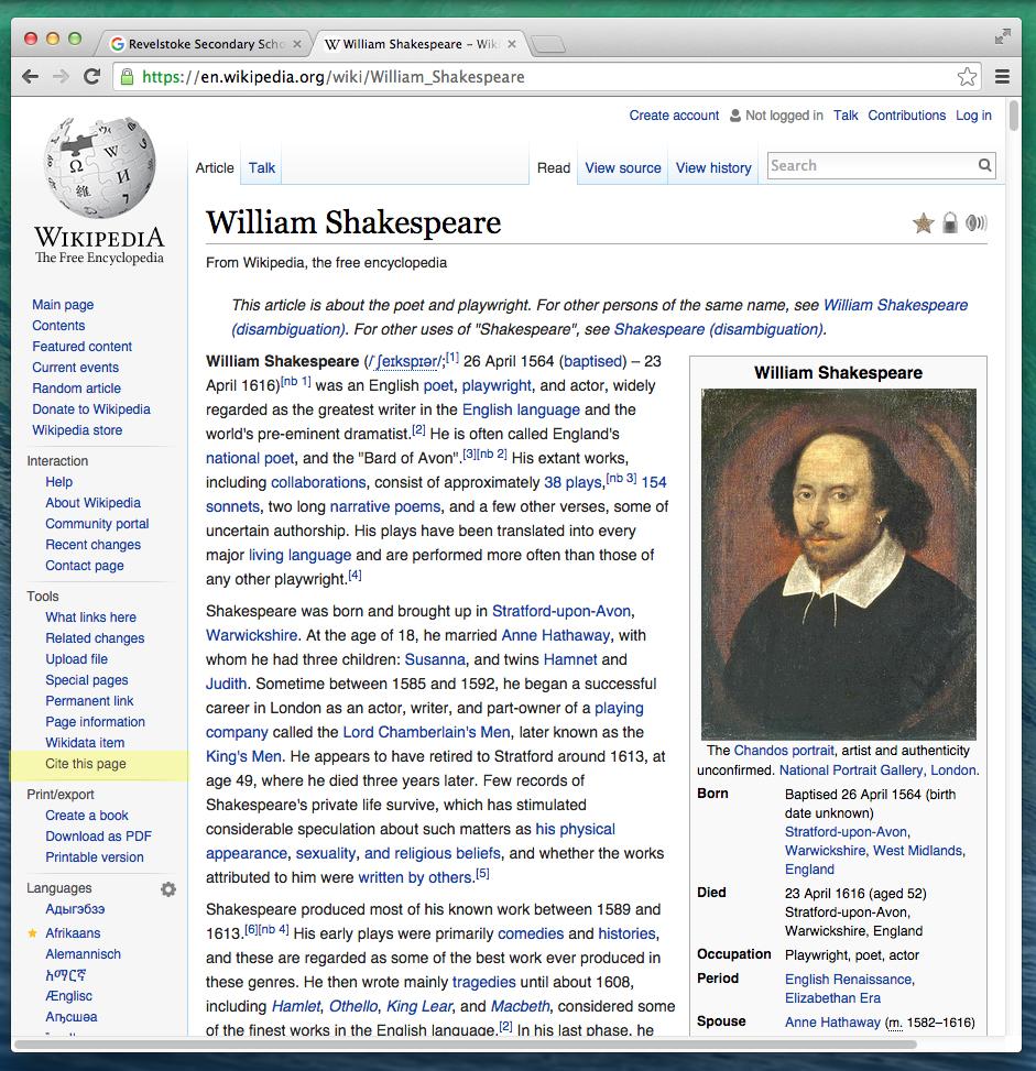 Shakespeare Webpage